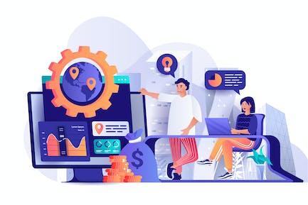 Flache Web-Illustration der globalen Geschäftsstrategie