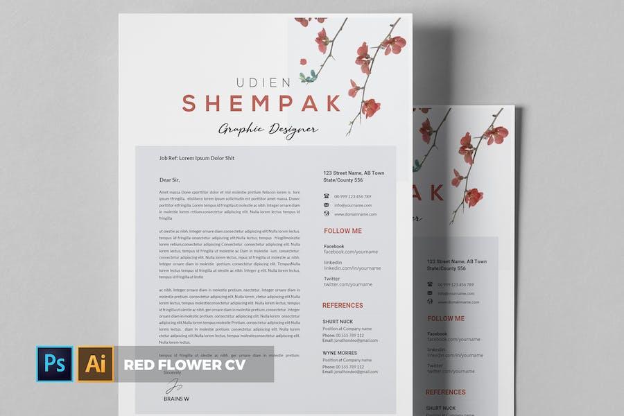 Red Flower   CV & Resume