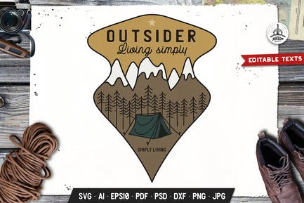 Outdoor-Abenteuer-Abzeichen Vektor Retro Grafik Logo