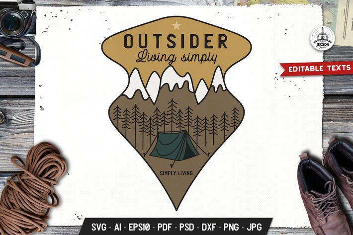 Thumbnail for Outdoor Adventure Badge Vector Retro Graphic Logo