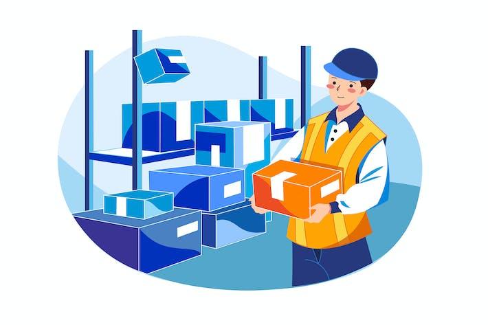 Thumbnail for Delivery guy delivering parcel Illustration