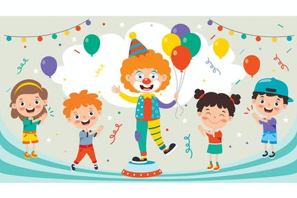 Funny Clown And Happy Children Playing