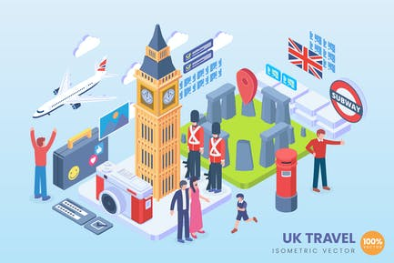Isometric United Kingdom Holiday Vector Concept