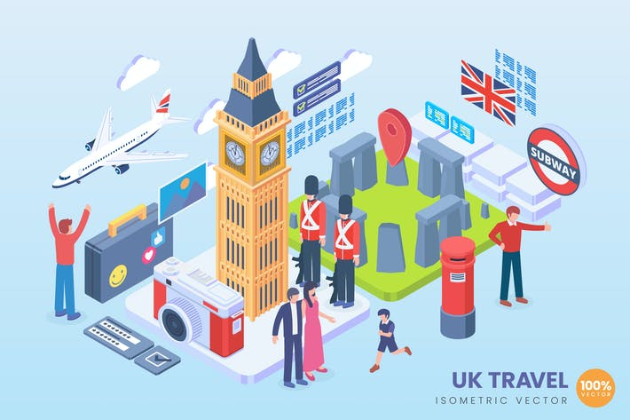 Thumbnail for Isometric United Kingdom Holiday Vector Concept