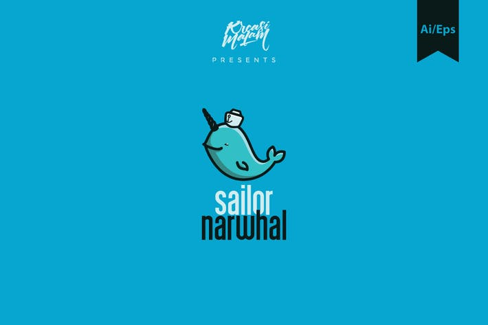 Cover Image For Sailor Narwhal Logo Template