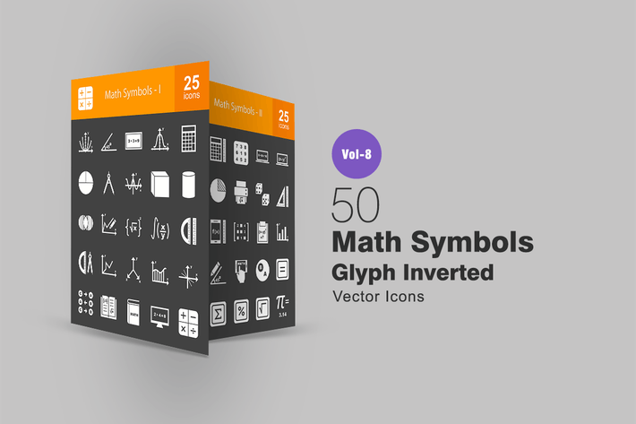 Thumbnail for 50 Math Symbols Glyph Inverted Icons