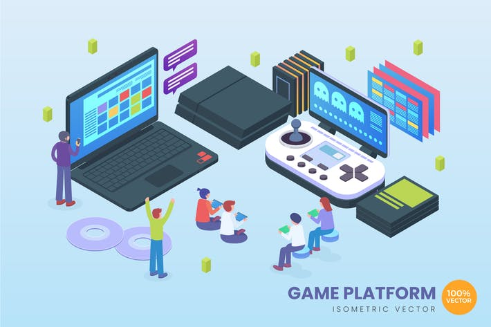 Thumbnail for Isometric Game Platform Vector Concept