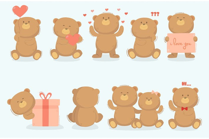 Teddy Bear in Different Poses Illustration