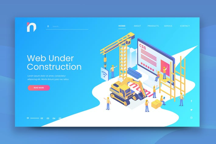 Thumbnail for Isometric Under Construction Web PSD and AI Vector