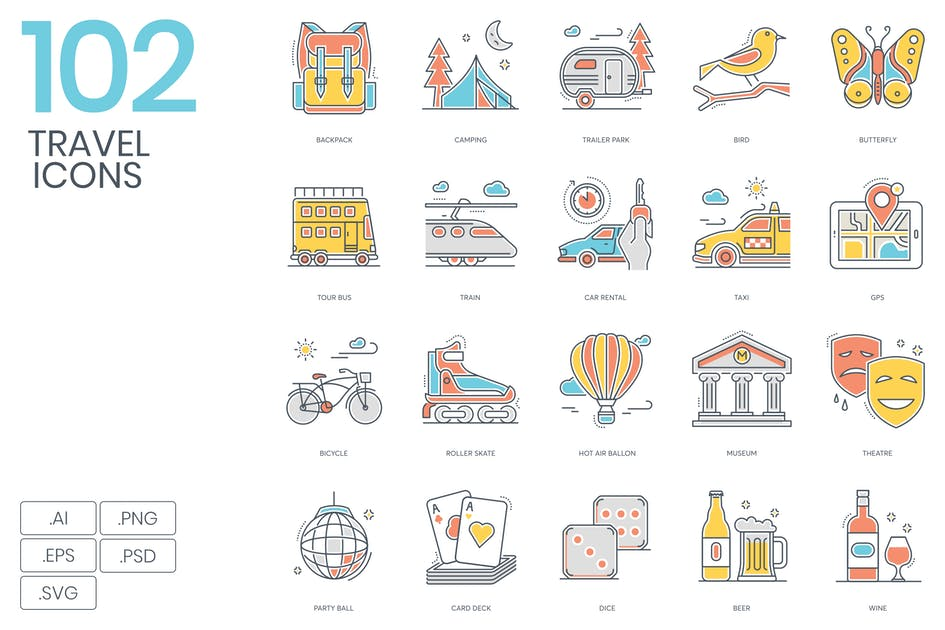 Download 102 Travel Color Line Icons by Krafted