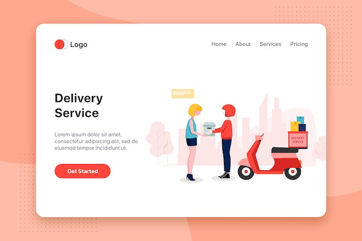 Thumbnail for Delivery Service flat concept for Landing page