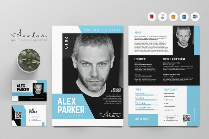 Thumbnail for Creative CV Resume & Name Card PSD, DOCX, AI No.31