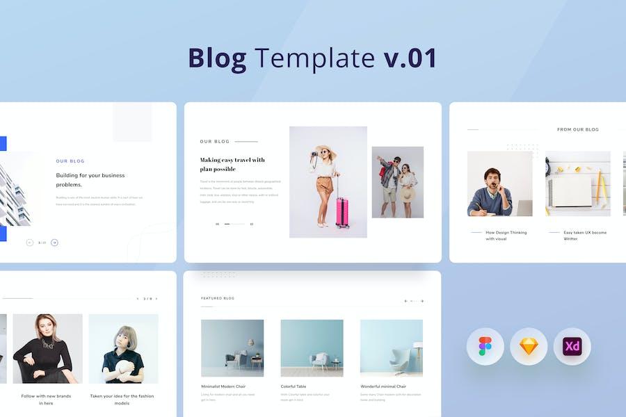 Kits d'interface utilisateur modèle de blog