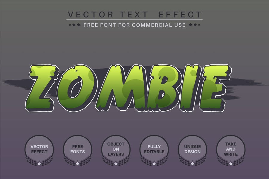 Zombie editable text effect, font style