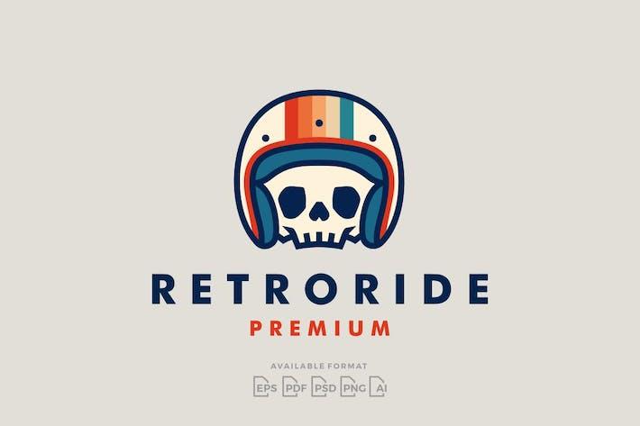 Retro Skull Rider Motorcycle Helmet Logo