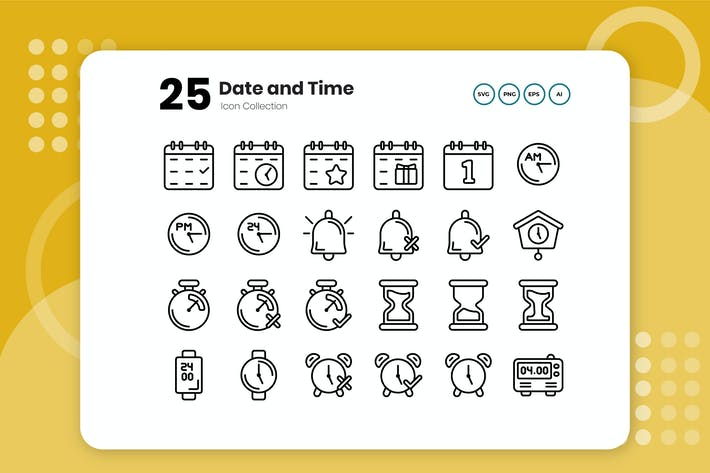 Thumbnail for 25 Date and Time Outline Icon