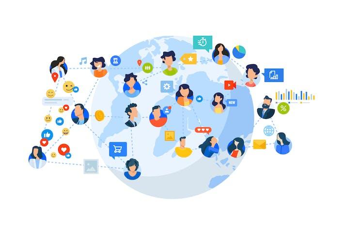 Thumbnail for Концепции плоского дизайна социальной сети