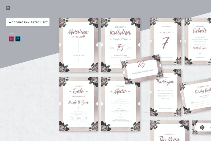 Thumbnail for Floral Wedding Invitation Suite