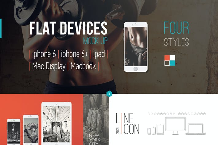 Thumbnail for Flat-style Devices Mock-Up (PSD)