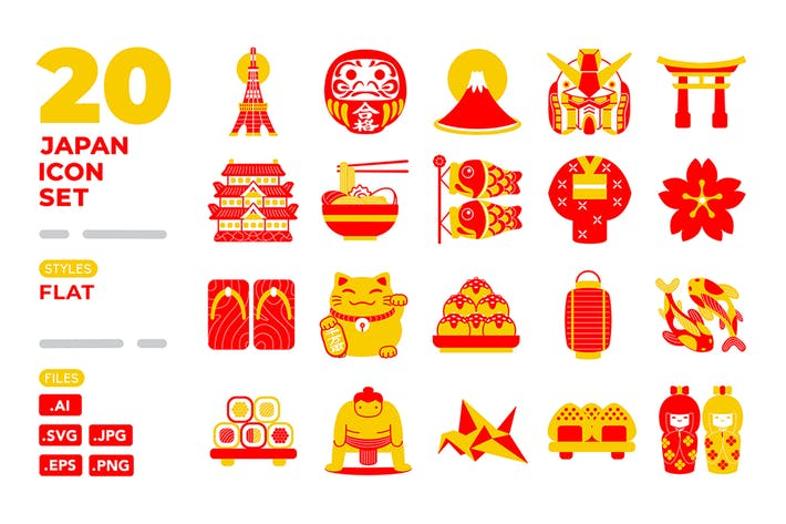 Thumbnail for Japan Icon Set (Filled Outline)