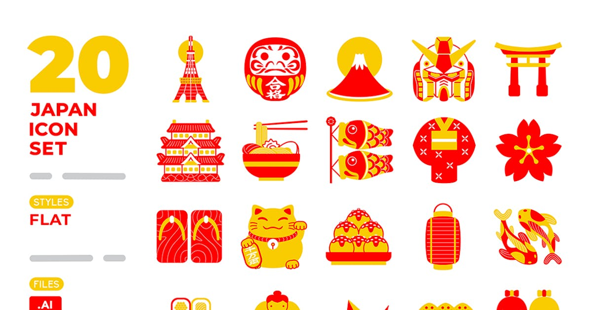 Download Japan Icon Set (Filled Outline) by medzcreative