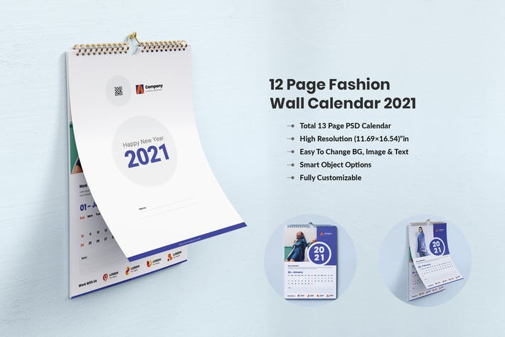 Thumbnail for Fashion Product Wall Calendar Design 2021