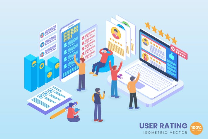 Thumbnail for Isometric User Review Vector Concept