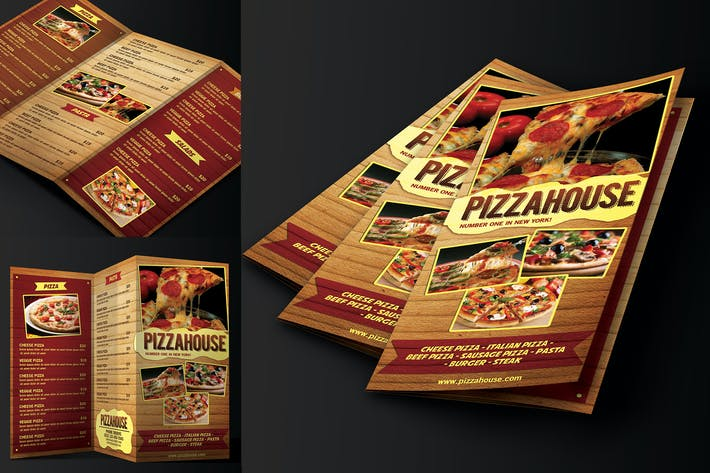 Cover Image For Trifold Pizza Menu