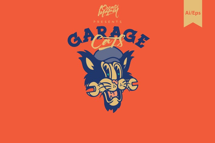 Thumbnail for Garage Cats Logo Template