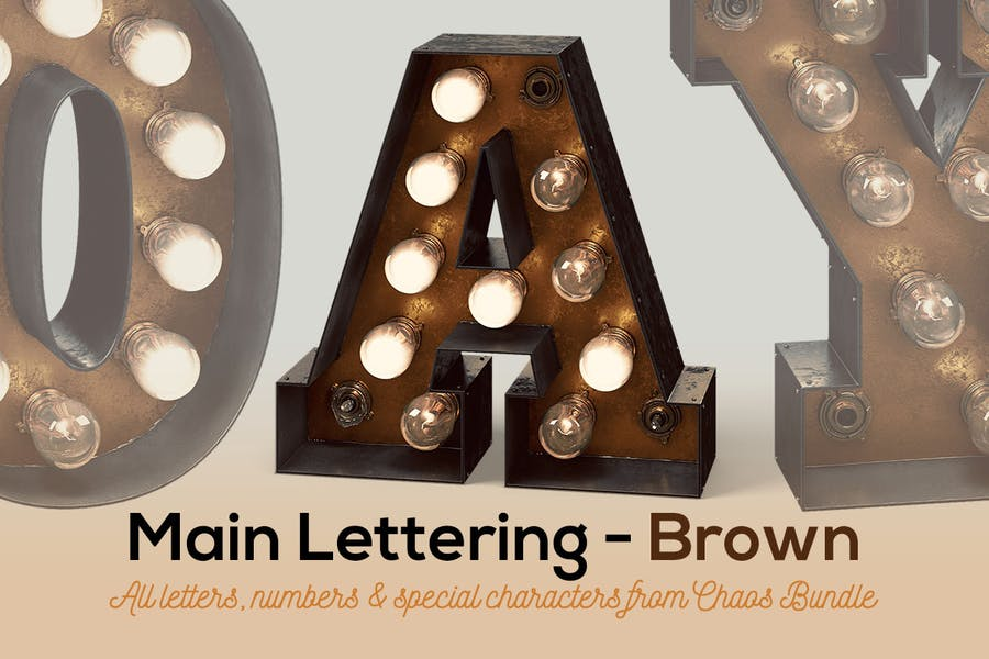 Marquee Light Bulbs Chaos 2 - Brown Lettering