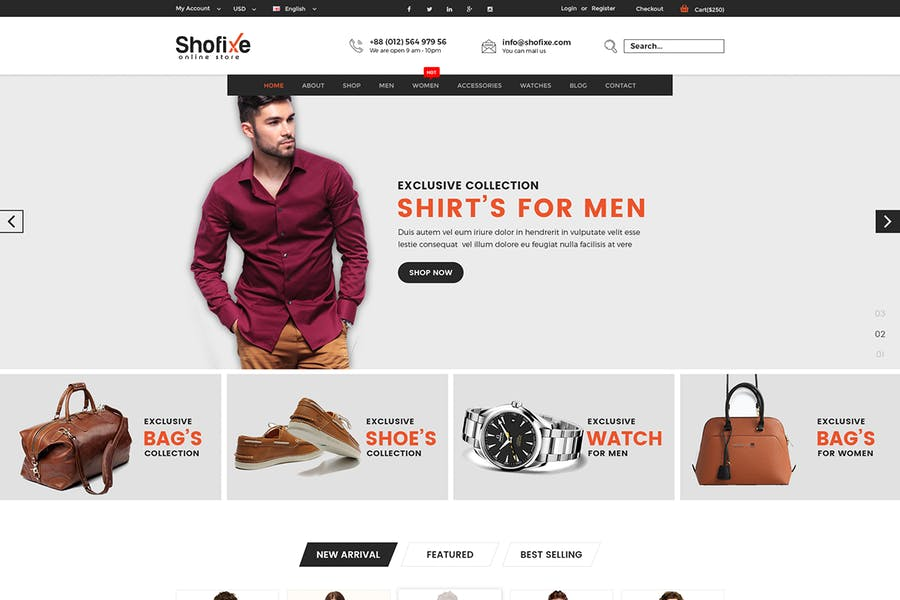 Shofixe - eCommerce PSD Template