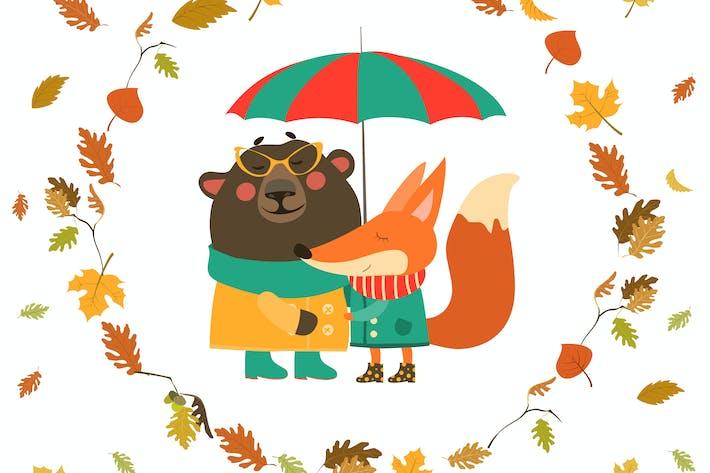 Thumbnail for Cute fox and bear hugging under umbrella in wreath