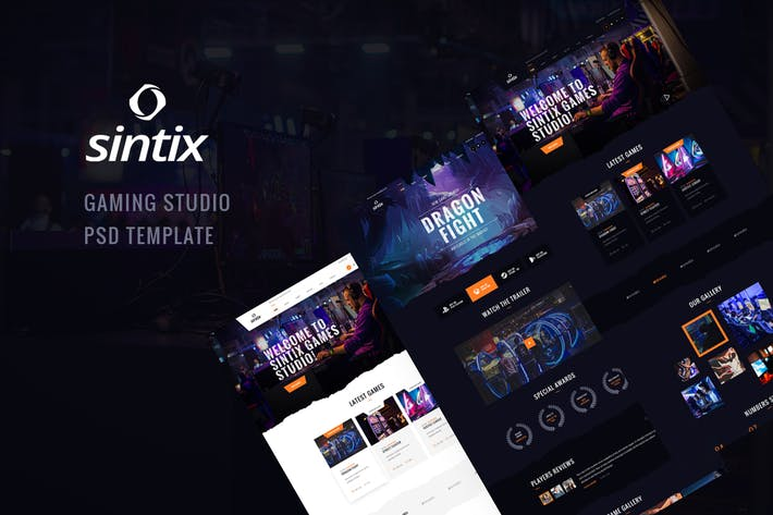 Cover Image For Sintix - Gaming Studio PSD Template