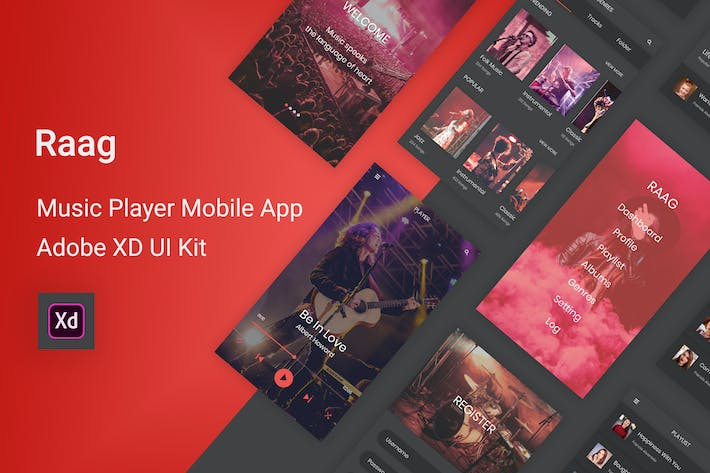 Thumbnail for Raag - Music Player UI Kit for Adobe XD