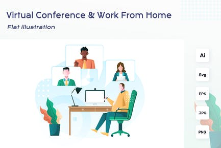 Virtual Conference - Work From Home illustration