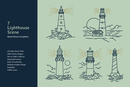 Lighthouse Lineart Scene Hand Drawn Graphics