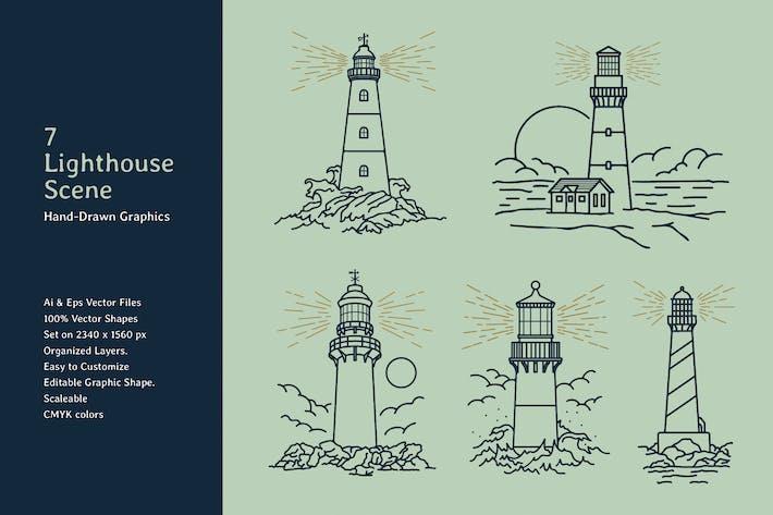 Leuchtturm Lineart Scene Handgezeichnete Grafiken