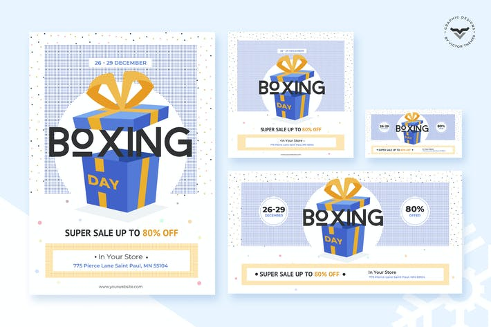 Thumbnail for Boxing Day Флаер & Social Media Pack Шаблон
