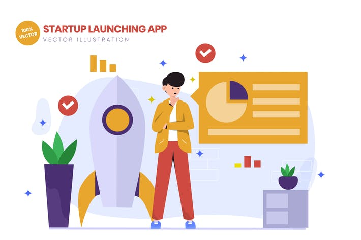 Thumbnail for Startup Launching App Flat Vector Illustration