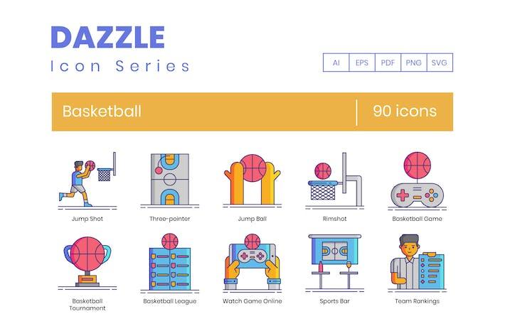 Thumbnail for 90 Basketball Line Icons
