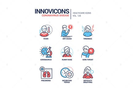 Enfermedad de Coronavirus - conjunto de Íconos de estilo de diseño de línea