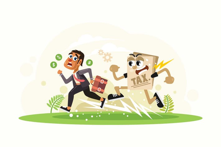 Thumbnail for Businessman Running Away from Tax  Illustration