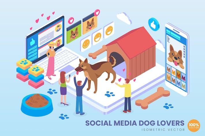 Thumbnail for Изометрические социальные медиа собака любовник Вектор концепция