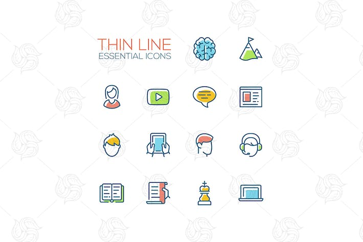 Thumbnail for Business, Finance Symbols - thin line icons