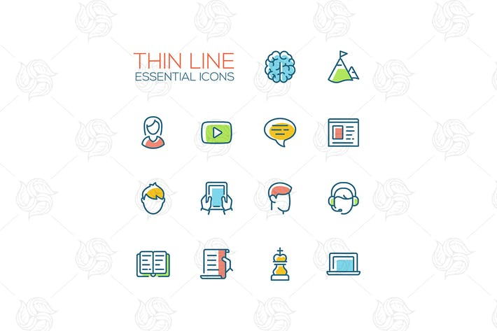 Cover Image For Business, Finance Symbols - thin line icons