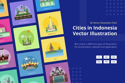 Cities in Indonesia Vector Illustration
