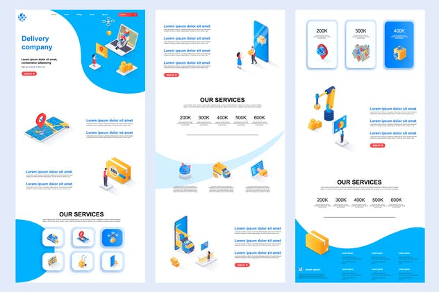 Delivery Company Isometric Landing Page Template