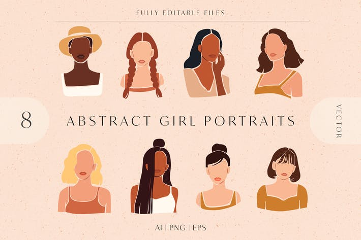 Thumbnail for 8 Vector Abstract Woman Portraits