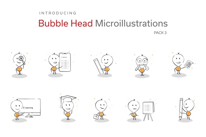 Thumbnail for Bubble Head Micro Illustrations - Education Pack