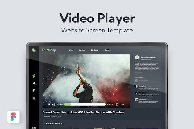 Video Player Website Template - product preview 0